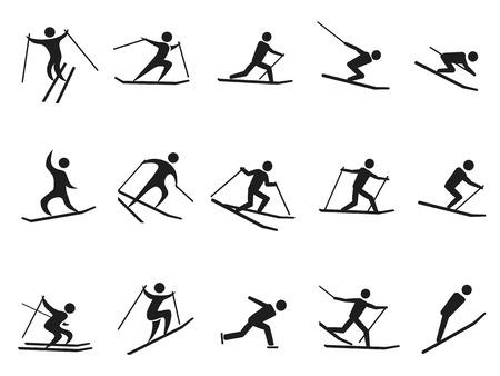 isolated black skiing stick figure icons set from white background Illustration