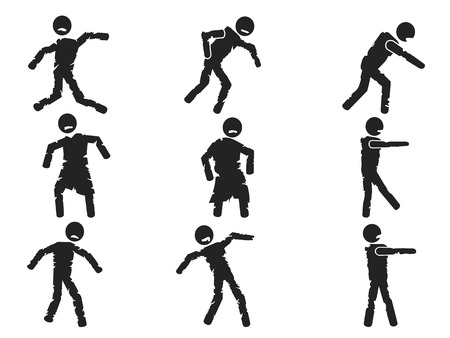 isolated zombie stick figure set from white background