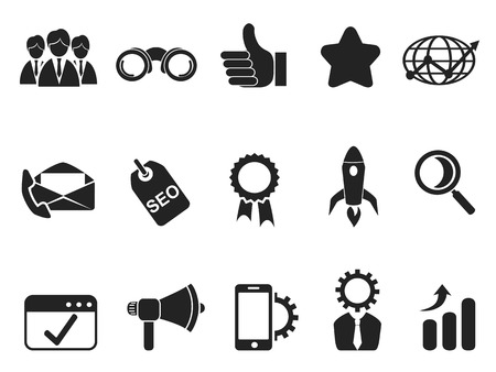 isolated black internet marketing icons set from white background Vector