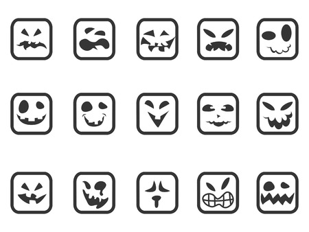 isolated square scary face icons set from white background Vector