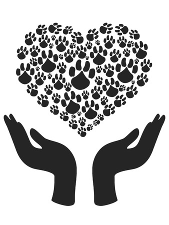 the symbol of human hands holding Heart shape of Paw Vector