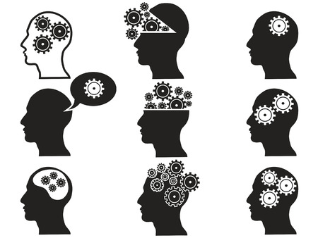 thinking machines: isolated black head with gears icon set from white background