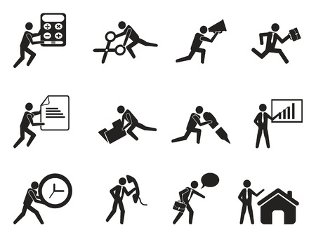isolated businessman office working man icons set from white background Illustration