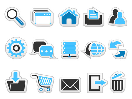 isolated Web internet button icons set from white background Vetores