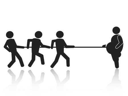 a big fat boss tug-of-war with employees