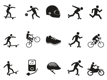 geïsoleerde straat sport fietsen skateboarden pictogrammen instellen op een witte achtergrond
