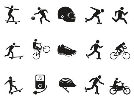 isolated street sport biking skating skateboarding icons set on white background Vector