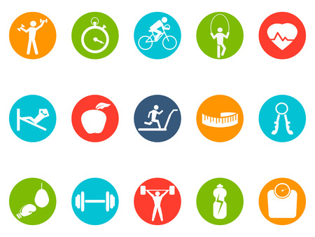 isolated fitness round buttons icons set on white background