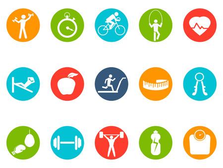 Geïsoleerde fitness ronde knoppen pictogrammen instellen op een witte achtergrond Stockfoto - 33037884