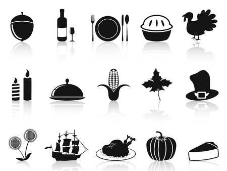 clip art wine: isolated black thanksgiving icons set from white background