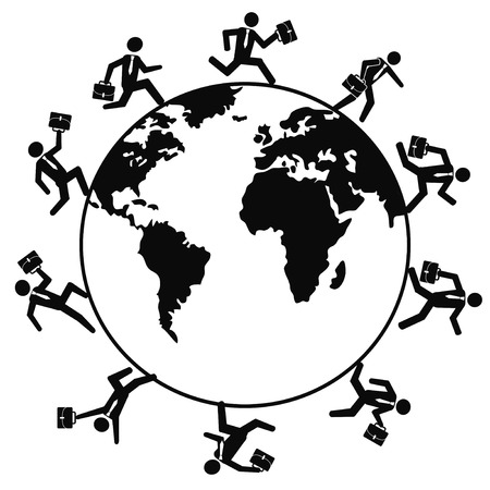 around: isolated a group of business people running around the world from white background Illustration