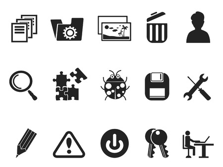 restart: isolated black Software and IT program Developers icon set from white background