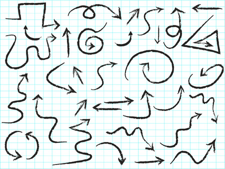 isolated doodle hand drawn arrows set on line paper background