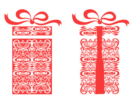 isolated red stylized gift box on white background Vector