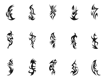isolated black Tribal tattoo symbol design from white background Vector