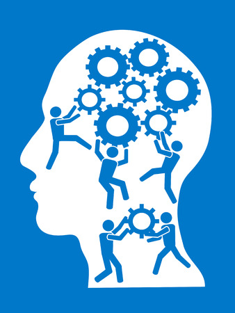 the concept background of people working in gears brain