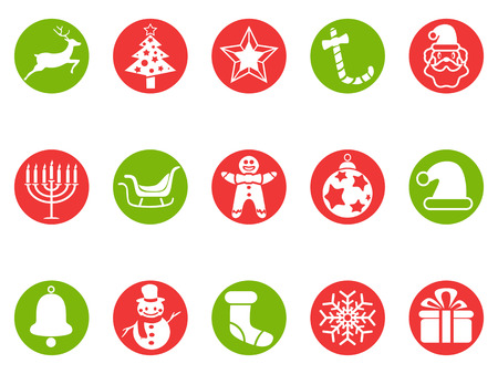 isolated Christmas round button icons set from white background Vector