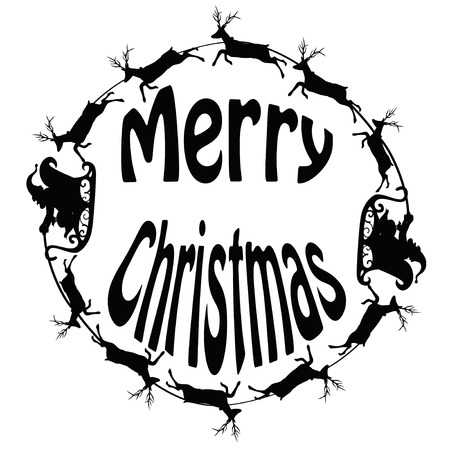 Santa sleigh and reindeers from as a circle with merry christmas greeting words Vector