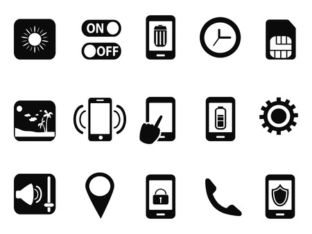 isolated black mobile setting icons set from white background Vector