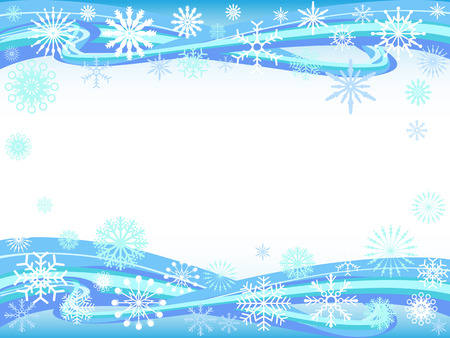 cold background: the background of snowflakes on curve waves