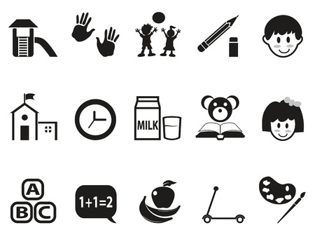 geïsoleerde zwarte voorschoolse pictogrammen instellen van een witte achtergrond