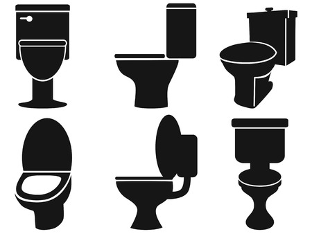domestic bathroom: isolated toilet silhouettes from white background