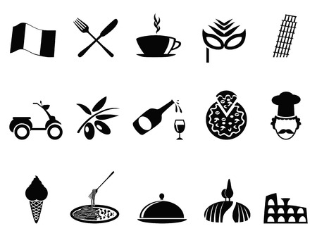 italian tradition: isolated black italy icons set from white background