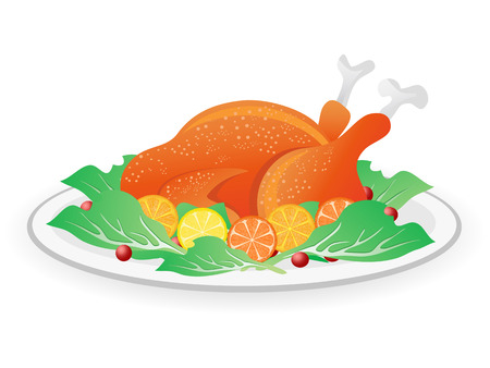 roasted turkey: isolated the roasted turkey on dish for Thanksgiving holiday Illustration