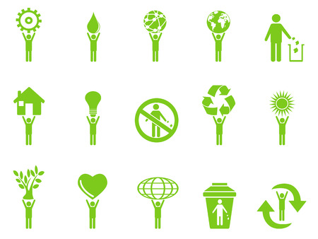 hands holding heart: isolated green eco icons stick figures series from white background