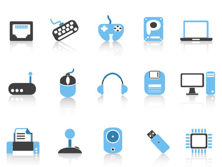 isolated Computer & Devices icons set blue series from white background Vector