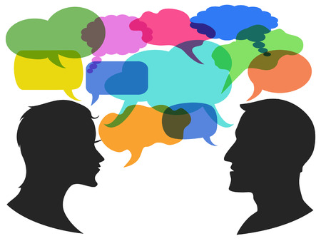 isolated man and woman chatting with speech bubbles on white background