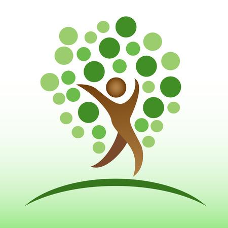 plante design: isol� logo gens d'arbre sur fond vert Illustration