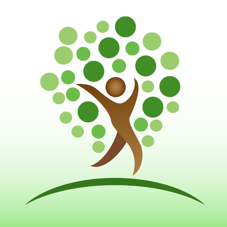 isolated people tree logo on green background