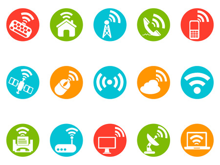 isolated wireless commuincation button icons set from white background Vector