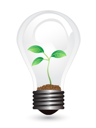 branch to grow up: isolated light bulb with plant on white background Illustration