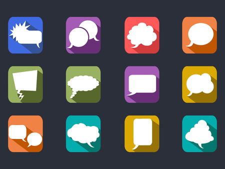 isolated speech bubbles long shadow flat icons on black background Vector