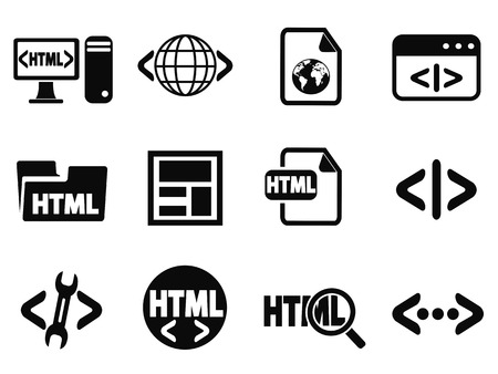 isolated black html icons set from white background Vector