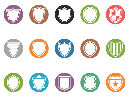 token: isolated shield round buttons icon set from white background