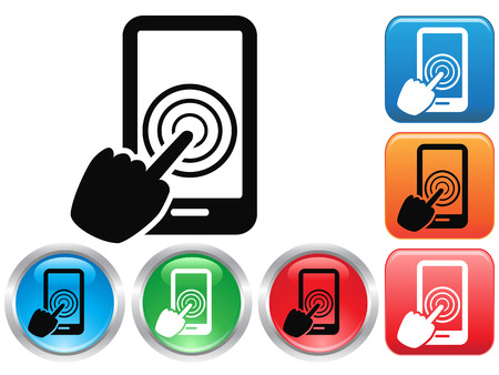 isolated Hand Touch screen smart phone sign buttons icon from white background Vector