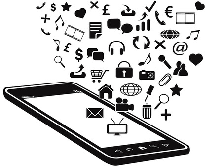 isolated black mobile phone and icons on white background Vector