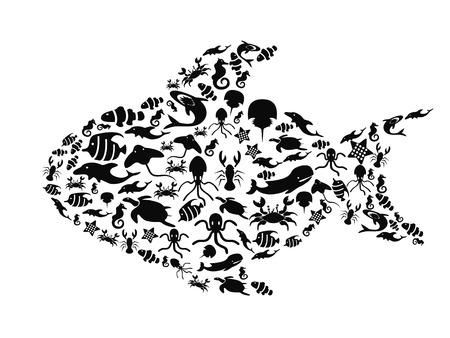 der große Fisch Form mit kleiner Meerestiere Silhouetten auf weißem Hintergrund gefüllt