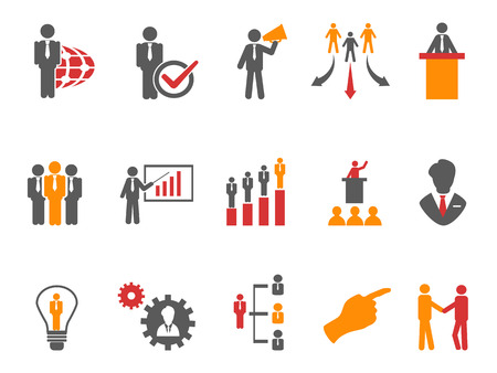 stick people: isolated Business and Management Icons orange series on white background Illustration