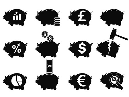 stockmarket chart: isolated black piggy icons set from white background
