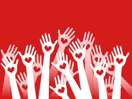 hands raised with hearts on red background