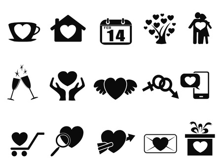 hands holding tree: isolated black Love valentine day icons set from white background Illustration
