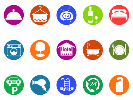tv room: isolated hotel buttons icon set fromw white background