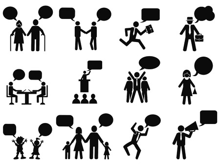 stick figure: isolated black people with speech bubbles icons from white background