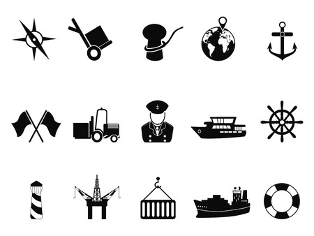 isolated black sea port icons set from white background Vector