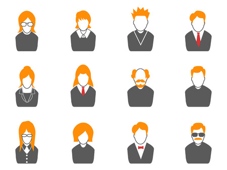 unrecognizable person: isolated simple avatar icons,orange series from white background Illustration