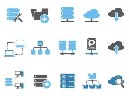web host: isolated web host icons set, blue series from white background